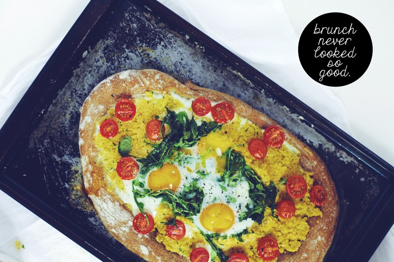 Polenta and Baked Egg Breakfast Pizza Brewing Happiness