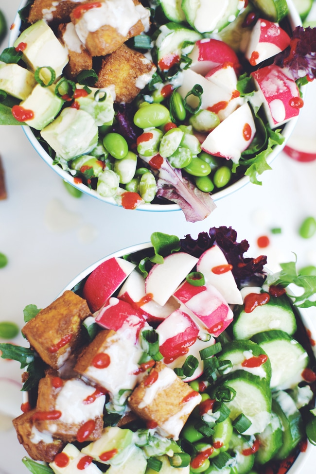 Spicy, Crisp Tofu On Mint-Avocado Salad Recipes — Dishmaps