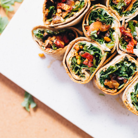 easy and delicious wrap with mushrooms and goat cheese