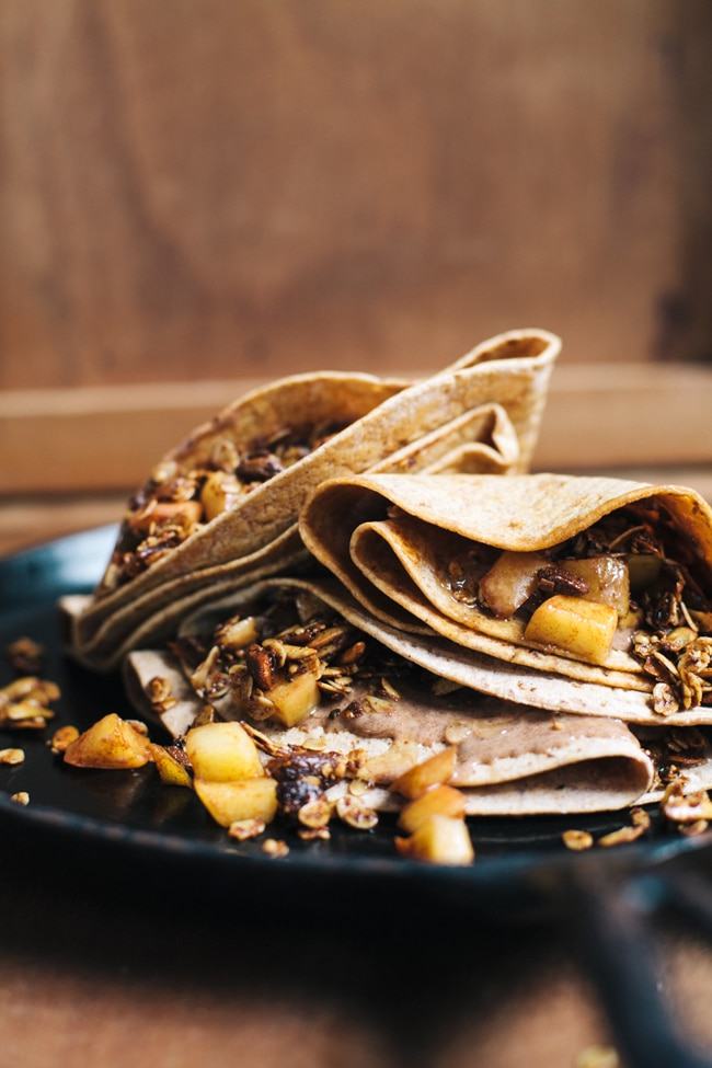 No Batter Nut Butter Crepes With Savory Granola And Caramelized Apples Brewing Happiness