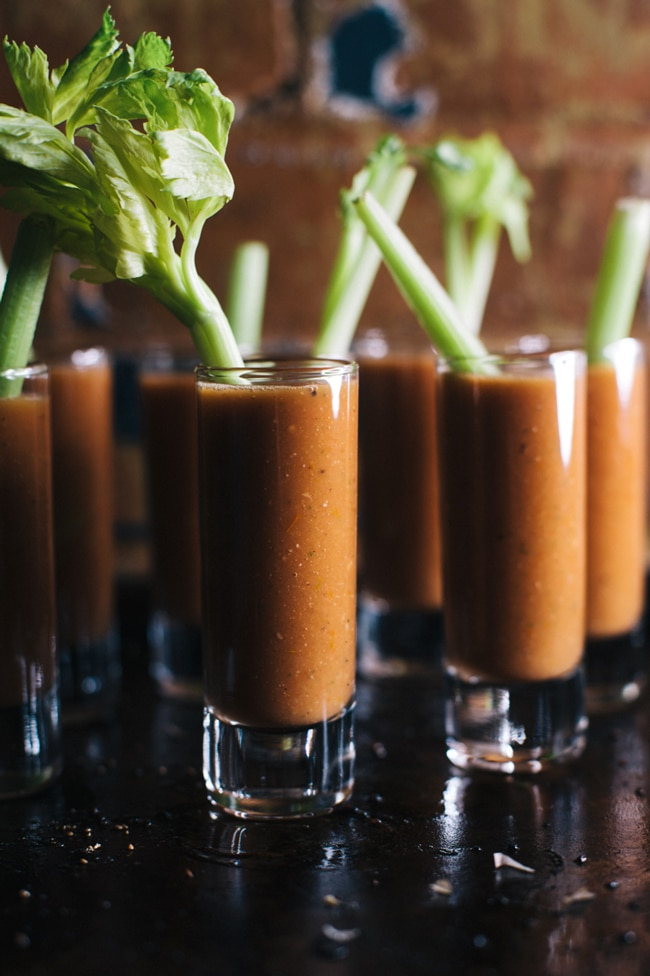 Bloody Mary Gazpacho Shooters | Brewing Happiness