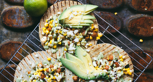 Chickpea Street Corn Tacos with Spicy Avocado Cream Sauce