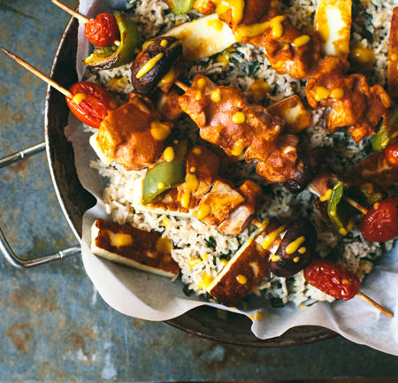 Oven Baked Masala Chicken Skewers #healthy #dinner | Brewing Happiness