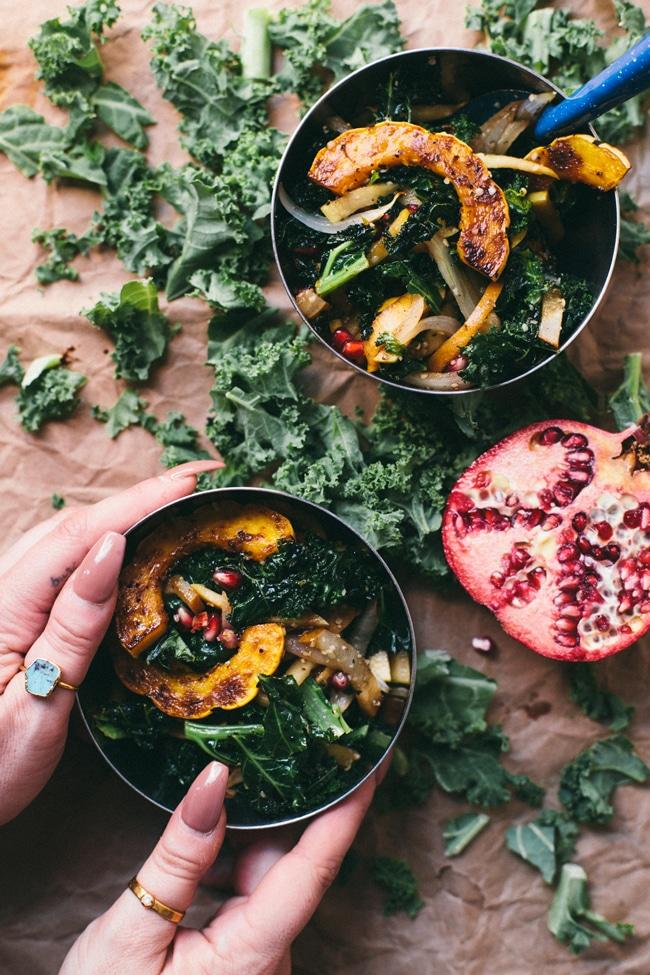 Warm Squash, Apple, Pear Kale Salad   Brewing Happiness