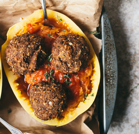 Mushroom Onion Thyme Veggie Meatballs with Spaghetti Squash Pasta | Brewing Happiness