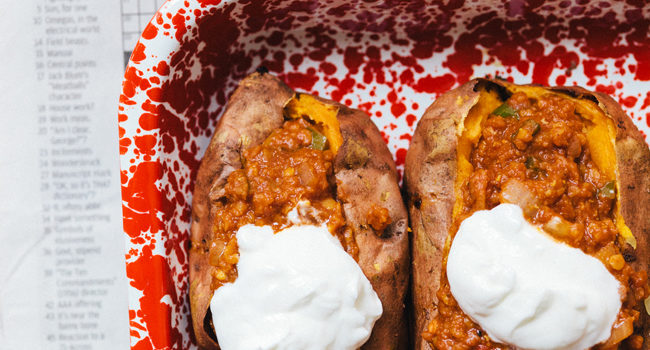 Lentil Sloppy Joe Stuffed Sweet Potatoes