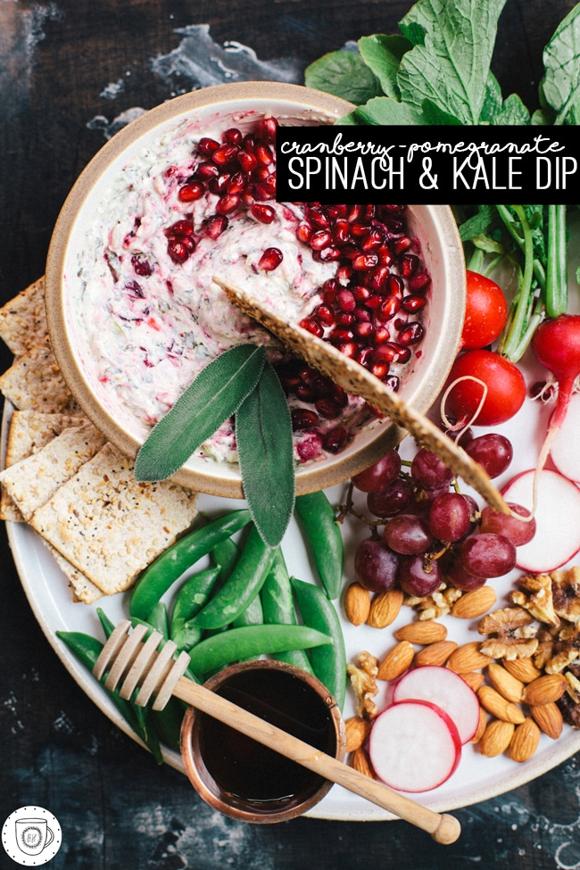 Cranberry-Pomegranate Spinach and Kale Dip (aka. the perfect dip for your NYE party!) Made with @laterrafina | Brewing Happiness