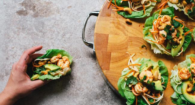 Sweet Thai Chili Shrimp Lettuce Wraps