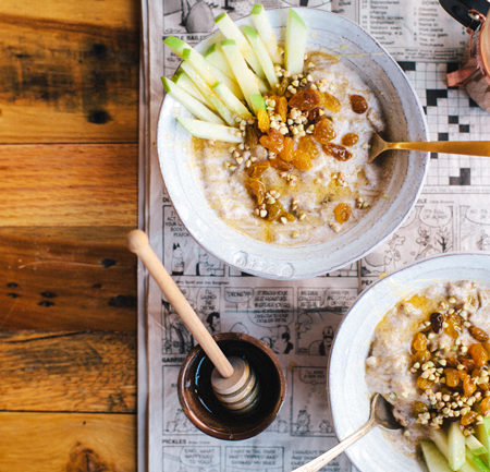 Golden Cinnamon Raisin Buckwheat Breakfast Porridge | Brewing Happiness