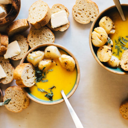Brown Butter Sage Butternut Squash Soup with Scallops | Brewing Happiness