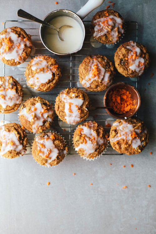 Healthyish Carrot Cake Cupcakes with Greek Yogurt Glaze | Brewing Happiness
