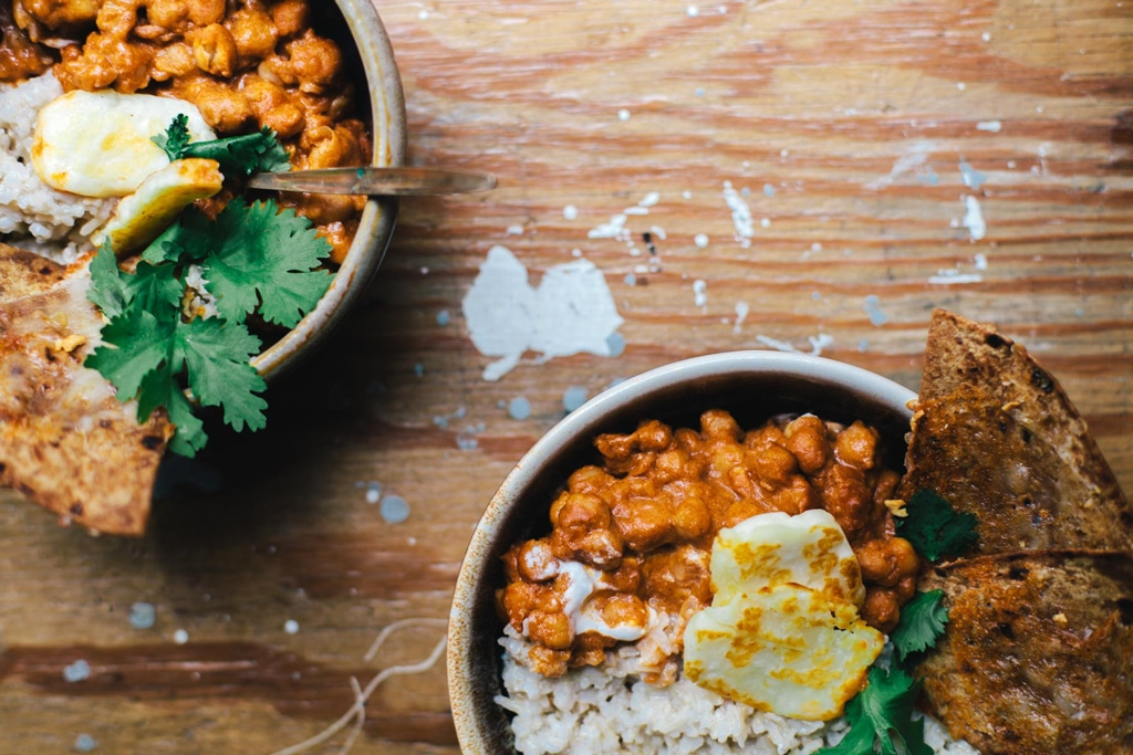 """Masala Chickpeas with Coconut Rice and Cheesy Garlic """"Naan"""" 