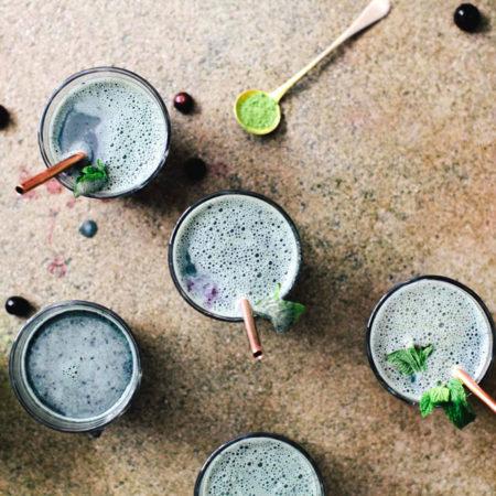 Blueberry Mint Matcha Latte | Brewing Happiness