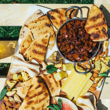 Summer Fruit & Cheese Board with Grilled Mango Chutney | Brewing Happiness